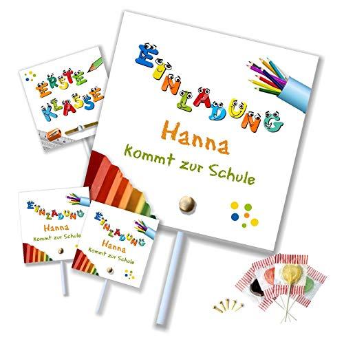 Unser-Festtag Erste Klasse Lutscher Lolli Einschulung Einladungen für Kinder Jungs und Mädchen lustig witzig. Text änderbar! - 5 Karten