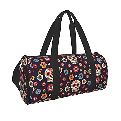 Borsa da palestra con teschio messicano con tasca bagnata e scomparto per scarpe, borsa da viaggio per uomini e donne, Nero , Taglia unica,