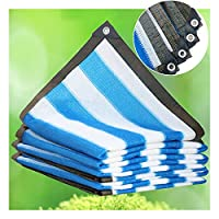 ZENGAI 90%青と白のストライプシェードと オーニングシェード、 バルコニーパティオスイミングプール 日焼け止め、 アンチUV防塵 遮光ネット、 カスタマイズ (Color : Blue and white, Size : 5mx6m)