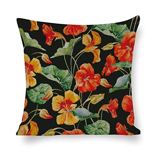 Funda de almohada de lino blanco con impresión de doble cara, flores amarillas brillantes, hojas verdes cuadradas para dormitorio sofá con cremallera invisible decoración fundas de cojín 18 x 18 pulgadas