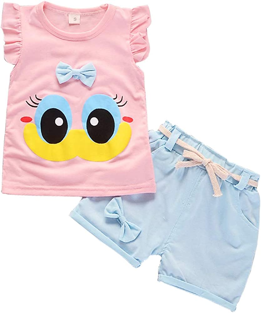 Baby Girl Clothes Summer Outfits Short Sets 2 Pieces with T-Shirt + Short Pants
