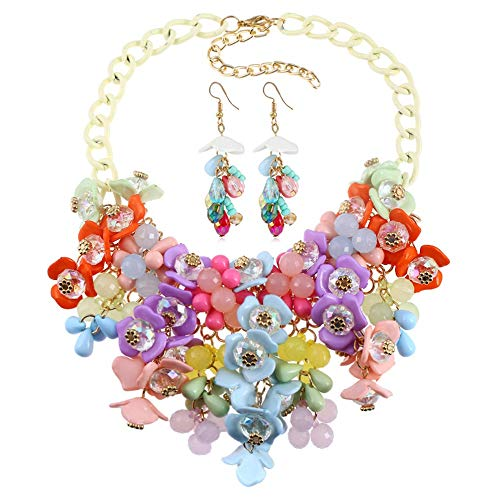 Quskto Dameshalsketting, dames, meisjes, halsketting en oorbellen, sieradenset voor trouwjurk, bruidsmeisjes, bruidsmeisjes, feestjes of galabal, geschikt voor dames, jurk sieraden