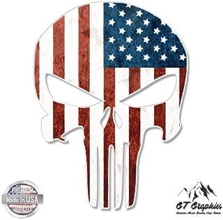 GT Graphics Punisher Skull American Flag Grunge - Vinyl Sticker Waterproof Decal