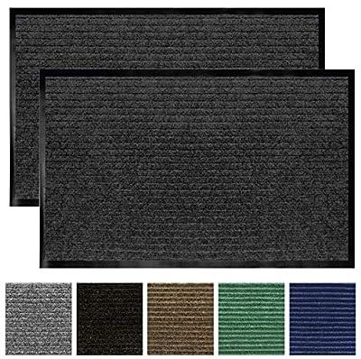 Gorilla Grip Original Low Profile Rubber Door Mat, 29x17, Pack of 2, Durable Doormat for Indoor and Outdoor, Waterproof, Easy Clean, Home Rug Mats for Entry, Patio, High Traffic, Gray