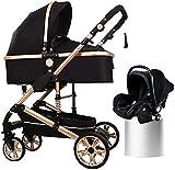Cochecito de bebé cochecito cochecito cochecito 3 en 1 cochecito de bebé para bebés, cochecito de lujo de lujo, cochecito de altura plegable con dosel ajustable, cesta de almacenamiento grande, negro