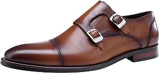Jamron Hommes Cuir Véritable Double Sangle de Moine Chaussure Officiel Business Loafers Oxfords Mariage Dress Chaussure