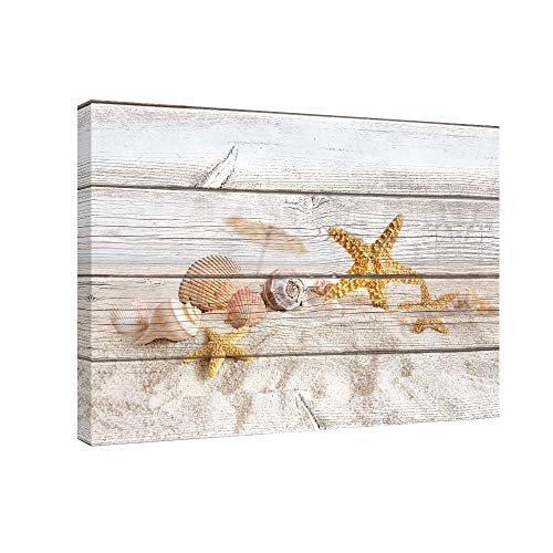 SUMGAR Canvas Wall Art for Living Room Starfish on Beach Decor Holidays Framed Paintings for Bedroom,16x24
