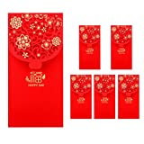 6PCS Chinese New Year Red Envelopes Lucky Money Envelopes Spring Festival Hongbao Gift Card Red...