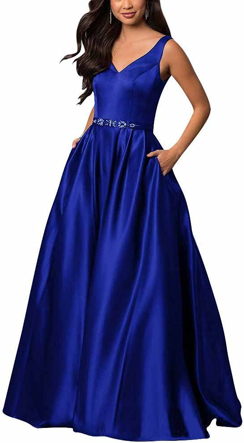 Yinyyinhs Women's V Neck Prom Dresses A Line Long Beaded Evening Formal Gowns with Pockets