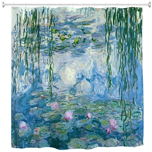 """Shower Curtain Water Lilies by Claude Monet Oil Paintings Flowers, Fabric Bathroom Decor Set with 12 Hooks, 60"""" x 72"""""""