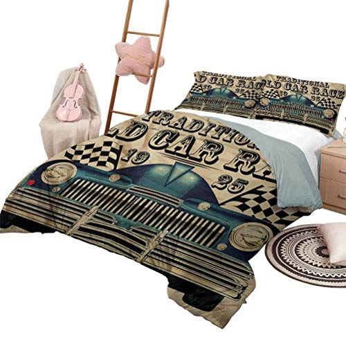 Daybed Quilt Set Cars Custom Bedding Machine Washable Traditional Old Car Race Theme Nostalgic American Car with Flags Rusty Look King Size Sand Brown Black Blue