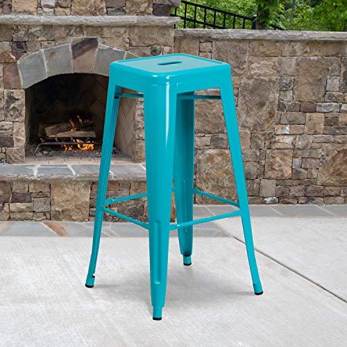 Flash Furniture Commercial Grade 4 Pack 30' High Backless Crystal Teal-Blue Indoor-Outdoor Barstool