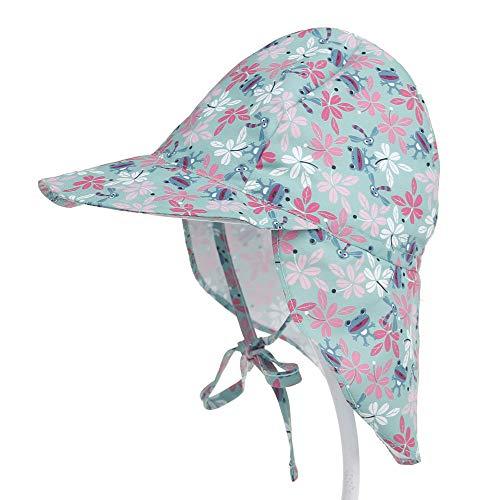 auvstar Baby Schirmmütze Sonnenhut mit, Kinderhut UPF 50+ UV-Schutz, mit Nackenschutz, einstellbare Größe, für das Schwimmen im Freien, Reisen, Beach Play, Summer Must. (Frosch, 48-54cm)