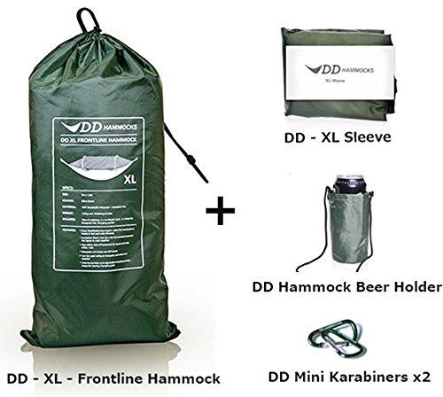 DD-XL-Frontline Hammock フロントライン ハンモック-Olive Green 4点セット XL-Frontline Hammock & XL- Sleeve スリーブ & Beer Holder ビールホルダー & Mini Kara