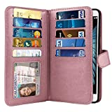 NEXTKIN Case Compatible with LG K10 Premier LTE, Leather Dual Wallet Folio TPU Cover, 2 Large Pockets Double Flap, Multi Card Slots Snap Button Strap for LG K10 Premier (NOT FIT K10 2017) - Rose Gold