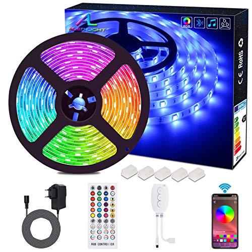 Bluetooth LED Streifen, ALED LIGHT 5050 Wasserdichtes 16.4Ft 5M 150 LED Stripes Licht Smart-Telefon Kontrolliertes RGB Lichtschläuche LED Lichtband 12V für Haus, Garten, Dekoration