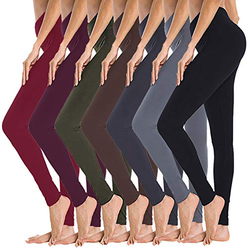 High Waisted Leggings for Women - 7 Pack Opaque Slim Tummy Control Pants for Yoga Workout Cycling Running (Black/Dark Grey/Navy Blue/Tan/Olive/Violet/Wine, Extra Plus Size)