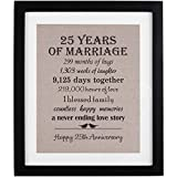 25th Anniversary Gifts Burlap Print with Frame, 25 Year Wedding Anniversary Gifts for Women Or Men, Silver Anniversary Gifts