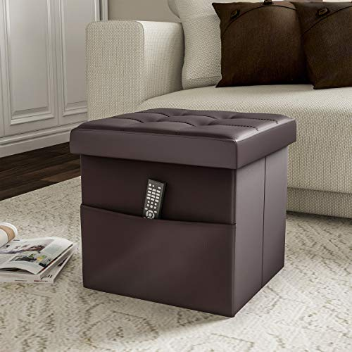 Lavish Home Foldable Storage Cube Ottoman with Pocket – Tufted Faux Leather Footrest Organizer for Bedroom, Living Room, Dorm or RV, Chocolate Brown
