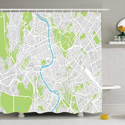Conjunto de cortina de ducha con ganchos Mapa de la ciudad italiana Roma Capital Travel Metropolitana de Italia Monumentos Parque acuático Texturas verdes Urbana Impermeable Tejido de poliéster Decora