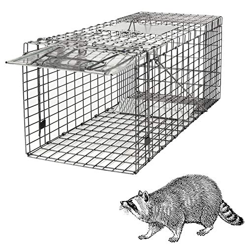 HomGarden Live Animal Cage Trap 32'' Steel Humane Release Rodent Cage for Rabbits, Stray Cat,...
