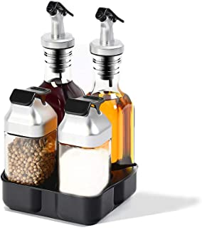 Oil and Vinegar Salt and Pepper Dispenser Set for Home and Kitchen, Non-Drip Spouts with Study Tray Holder| 5-Piece Includes 2 Oil and Vinegar Dispenser and 2 Salt and Pepper Shaker|