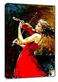 A Girl In Rot Kleid spielt Geige Ölgemälde auf Rahmen Leinwand Wand Art Home Dekoration Bilder, 16 x 12 inch(40 x 30 cm) -38mm depth