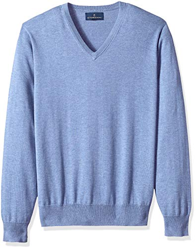 BUTTONED DOWN Men's Supima Cotton Lightweight V-Neck Sweater, blue, Medium