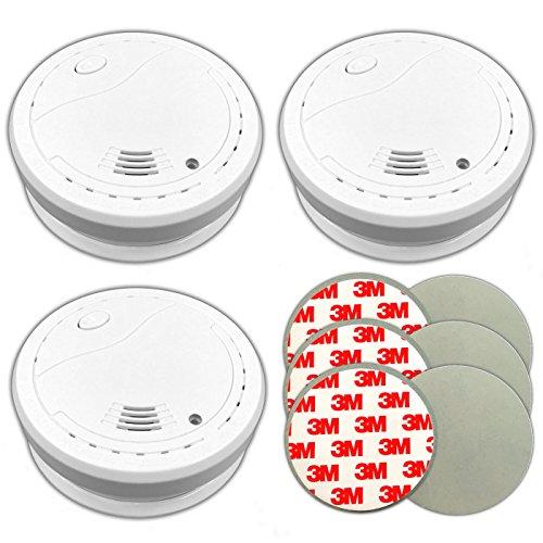 3X Xeltys Rauchmelder m. 10 Jahre Lithium Batterie + 3M Klebepad Set Feuermelder