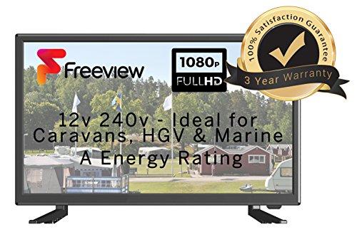 MOTORHOME CARAVAN BOAT 12V 22' Inch HDR LED Digital Freeview TV 12 Volt with USB PVR & Media DivX Player