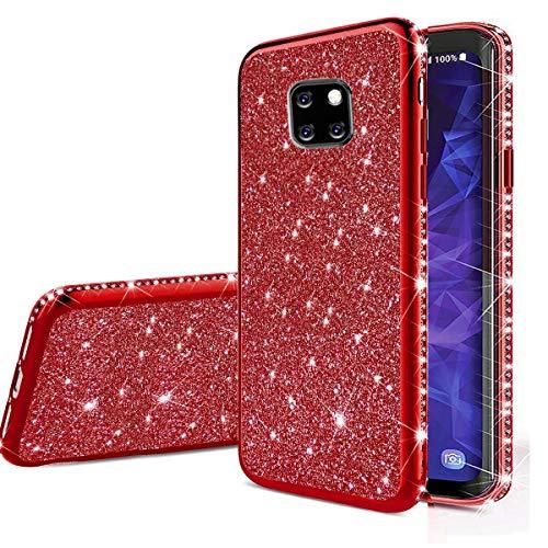 Nadoli Bling Custodia per Huawei Mate 20 Pro,Lusso Ultra Sottile Glitter Skin Morbido Diamante Placcatura Telaio Brillante Silicone Protettiva Case Cover per Huawei Mate 20 Pro