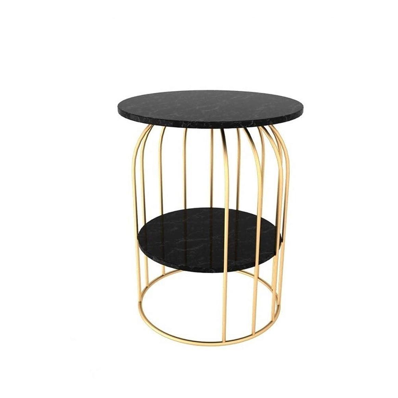 部族上節約するGWM コーヒーテーブル、ラップトップゲームテーブルモダンなコーヒーティーデスクオフィス家具、創造的な二層鍛造鉄コーヒーテーブルテーブルリビングルーム茶髪側バルコニー金属小さな丸テーブルカスタム大理石テーブル (Color : Gold+black, Size : 60*60*70cm)
