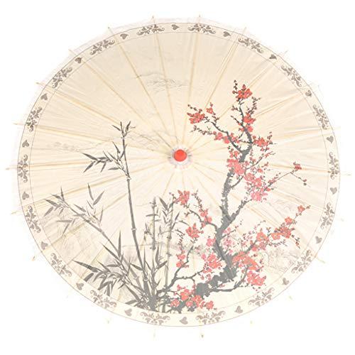 VNEIRW Chinesischer Papier Regenschirm Sonnenschirm Bambus Papierschirm Vintage Blume Drucken Paper Umbrella zum Tanzen / Cosplay / Fotografie Requisiten (I)
