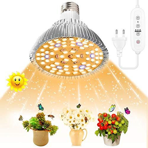 SINJIA 100W LED Lámparas de cultivo para interiores, E27 78 LED Luz de planta de espectro completo Luz de cultivo LED para jardín Invernadero Plantas de interior Plántulas Verduras, flores