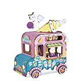 ROBOTIME 3D Puzzle Music Box Kits Colorful Hand Crank DIY Wooden Craft Kits to Build Perfect Birthday (Moving Flavor)