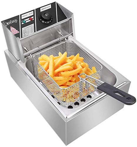 Electric Deep Fryer with Basket & Lid, 6.3QT/6L Heavy Duty Stainless Steel Single Tank Kitchen Frying Machine, 2500W French Fryer for French Fries Fried Chicken US Plug