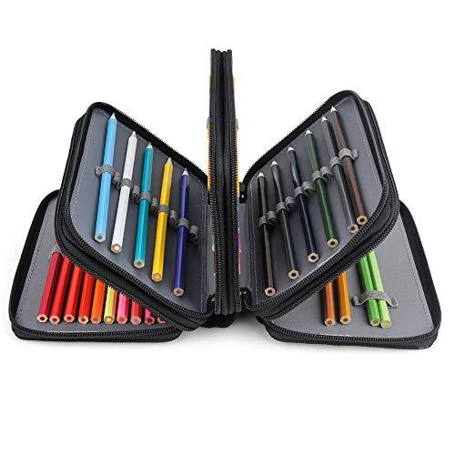 Gobesty Astuccio per 72 scomparti, Astuccio colorato 4 strati Borsa per penna di grande capacità per Boy Girl Student School Office Art Craft, Nero