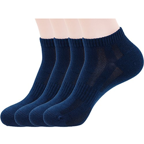 Mens Navy Blue Sports Low Cut Ankle Socks, Cotton & Pearl-Fiber Diabetic No Show Socks Decrease Odor Moisture-Wicking Soft Cozy Breathable Socks for Sweaty Feet (4 Pack)