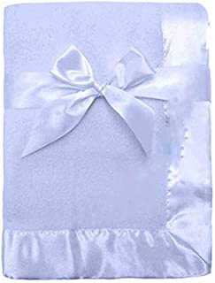 Jolitee Personalized Soft Fleece with Satin Border Embroidered Baby Blanket for New Baby