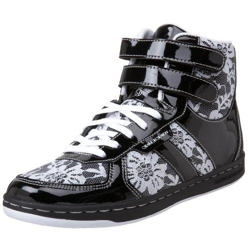 Creative Recreation Women's Dicoco High-Top Sneaker,Black/White/Lace Overlay,7.5 B US