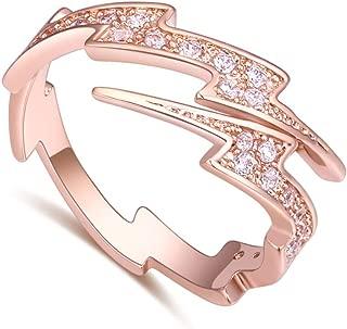 18K Rose Gold Tone Adjustable Open Finger Rings Lightning Bolt Women Shining Cubic Zircon CZ Ring Fashion Jewelry