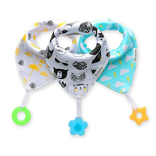 Baby Bandana Drool Bibs 3-Pack and Teething Toys 3-Pack Made with 100% Organic Cotton, Super Absorbent and Soft Unisex (Vuminbox) (White)