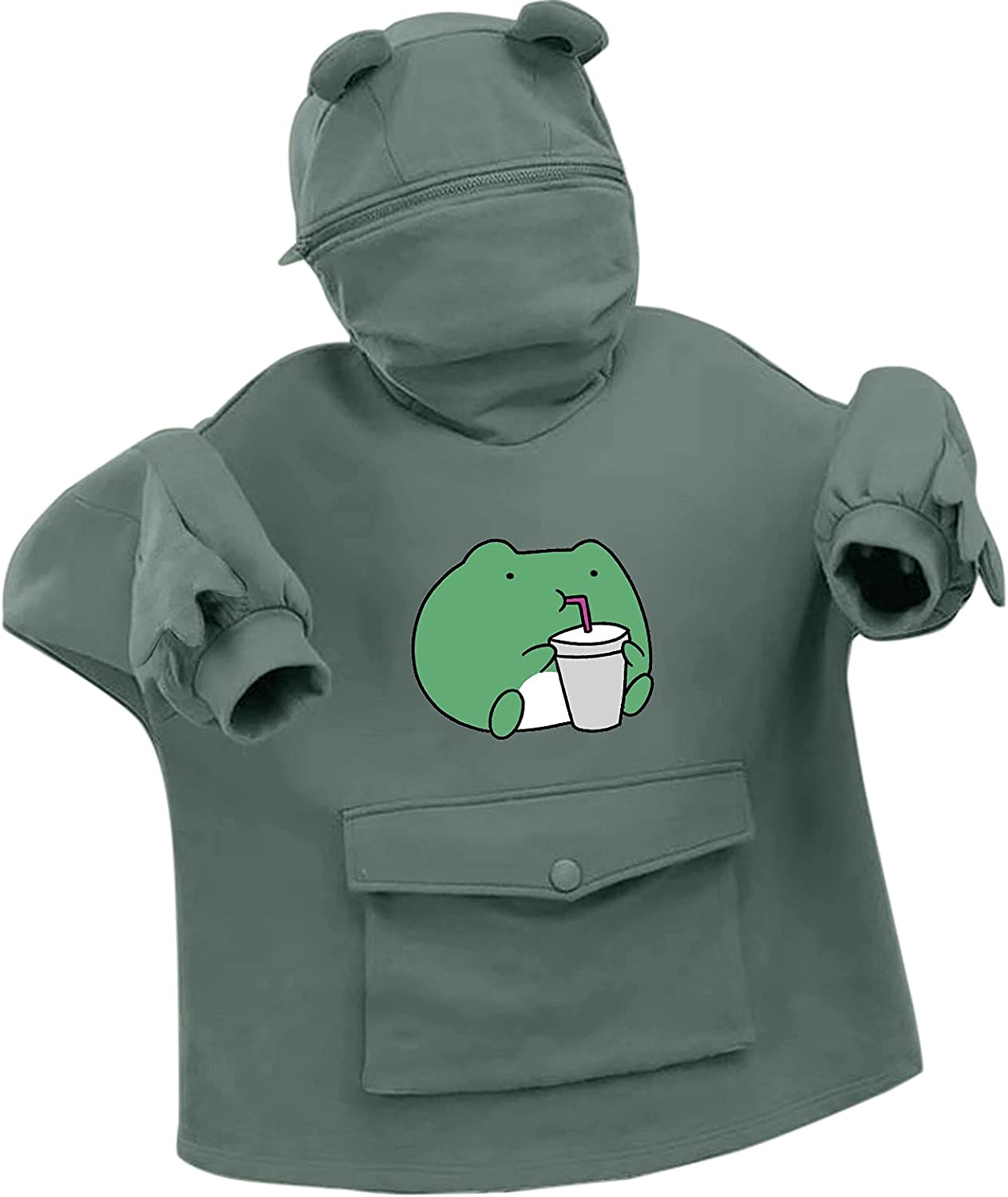 Lousioa Women's Don't Minneapolis Mall miss the campaign Stitching Three-Dimensional Frog Print Sweatersh