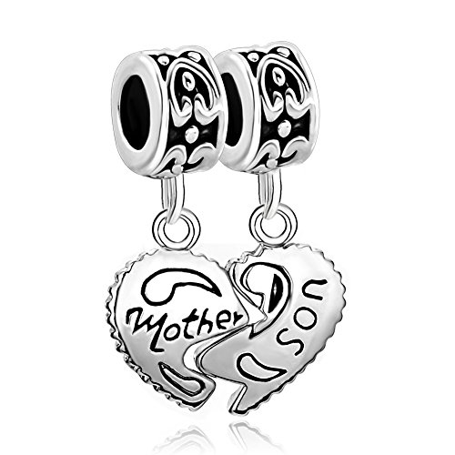 Charmed Craft 2 pcs Mother Son Charms Heart Love Dangle Beads for Snake Chain Bracelets (Mother Son-2)