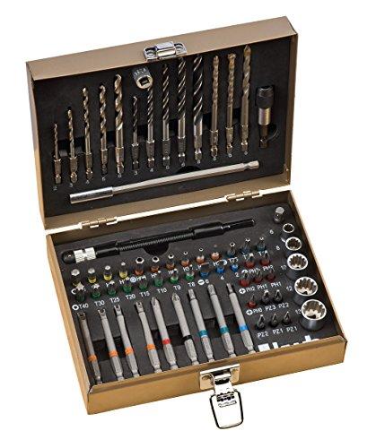 kwb Max-Box 67-tlg. Bohrer- und Bit-Set, bestehend aus Bits, Bohrern, Langbits, Stecknüssen, Stein-Bohrer & Holz-Bohrer in einem stabilen Metall-Koffer