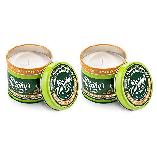 Murphy's Naturals Mosquito Repellent Candle | DEET Free | Made with Plant Based Essential Oils and a Soy/Beeswax Blend | 30 Hour Burn Time | 9oz | 2 Pack