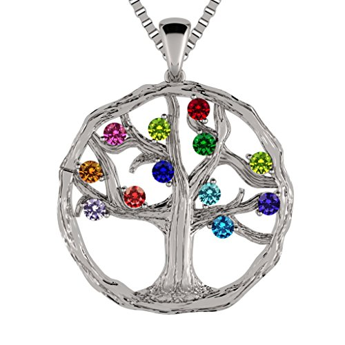 Family Tree Birthstone Necklace - Silver, Yellow, White or Rose Gold
