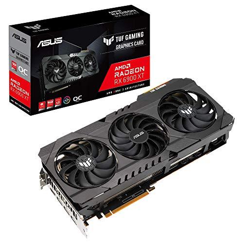 Placa gráfica ASUS TUF Gaming AMD Radeon RX 6900 XT OC Edition (PCIe 4.0, 16 GB GDDR6, HDMI 2.1, DisplayPort 1.4a, rolamentos de ventilador de esfera dupla, cobertura totalmente em alumínio, moldura reforçada, GPU Tweak II)
