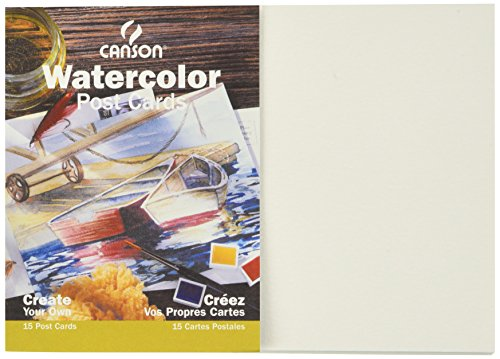 Canson Customizable Blank Watercolor Paper Postcards, 140 Pound, 5 x 7 Inch, 15 Card Set