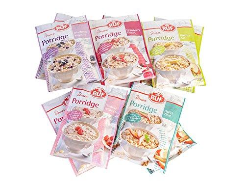 RUF Porridge Topseller: 2x Himbeer-White Choc 65g, 2x Blueberry-Joghurt 65g, 2x Bircher Art 65g, 2xZimt Apfel 65g, 2x Cranberry Kokos 65g